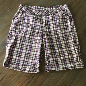 Venezia size 18 purple/white/brown plaid shorts
